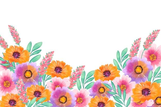 Hermoso fondo floral acuarela vector gratuito