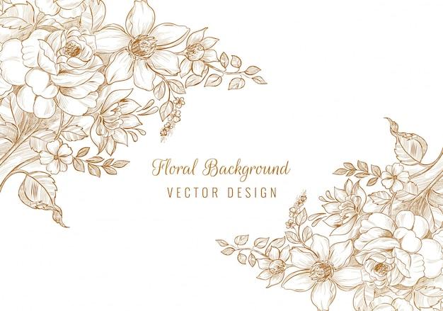 Hermoso fondo floral de boda decorativa vector gratuito