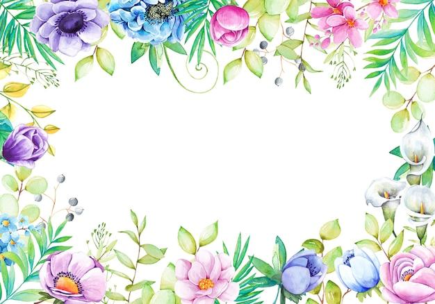 Hermoso fondo con flores de acuarela pintadas a mano Vector Premium