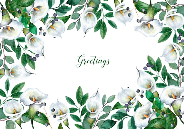 Hermoso fondo con flores acuarelas Vector Premium