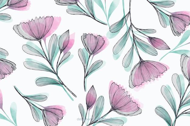 Hermoso fondo con flores dibujadas a mano vector gratuito