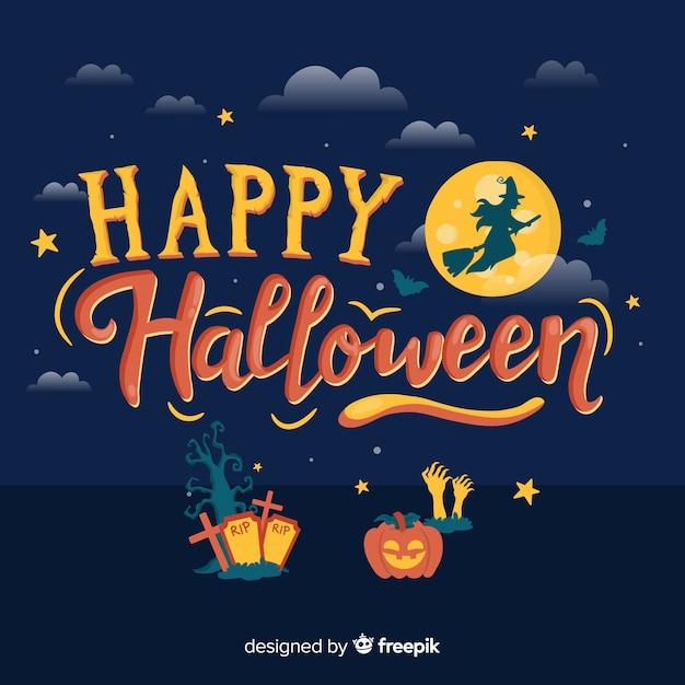 Hermoso fondo de lettering de feliz halloween vector gratuito