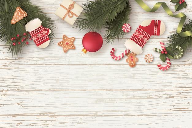 Hermoso fondo de navidad con regalos y adornos vector gratuito