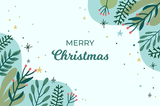 Hermoso fondo navideño con hojas dibujadas a mano vector gratuito