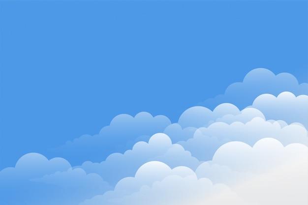Hermoso fondo de nubes con diseño de cielo azul vector gratuito