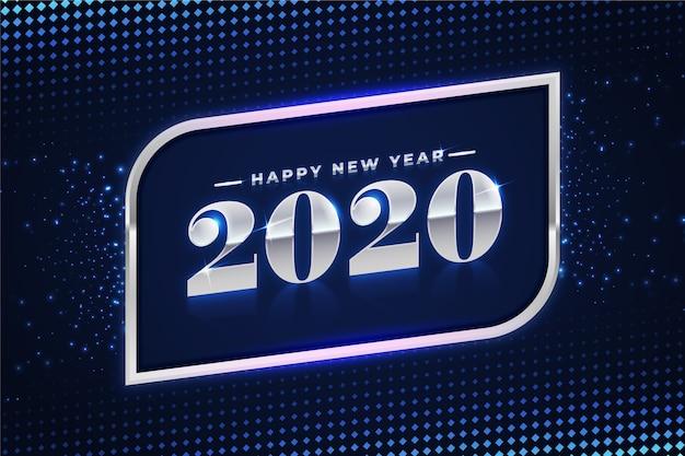 Hermoso fondo de plata año nuevo 2020 vector gratuito