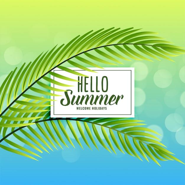 Hermoso fondo de verano con hojas tropicales. vector gratuito