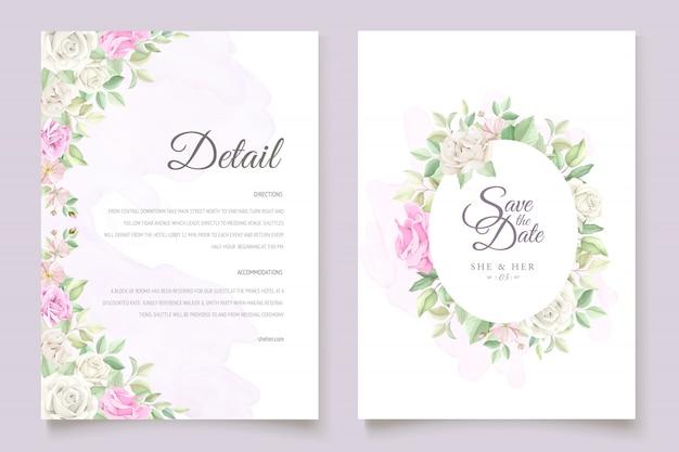 Hermoso juego de tarjetas de invitación de boda con flores y hojas suaves vector gratuito