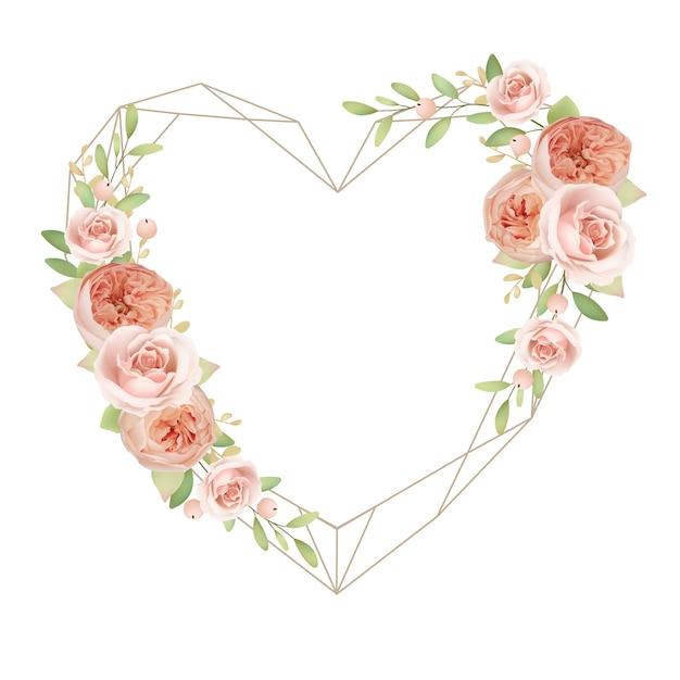 Hermoso marco de corazón con rosas de jardín florales Vector Premium