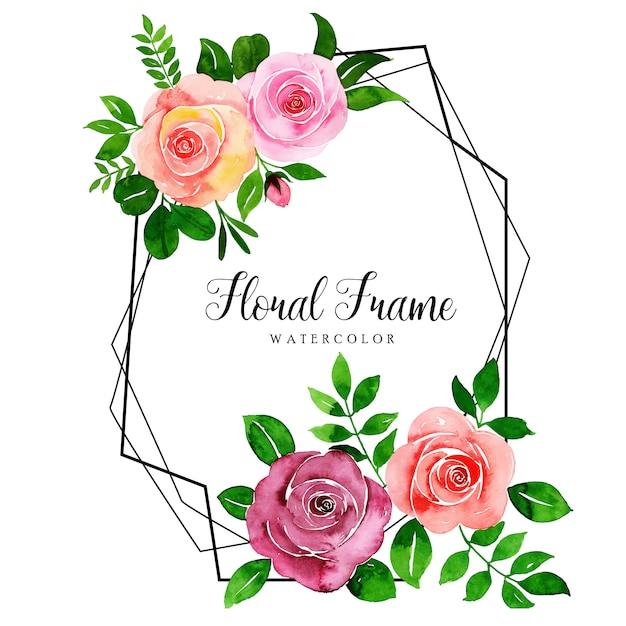 Hermoso marco floral acuarela Vector Premium