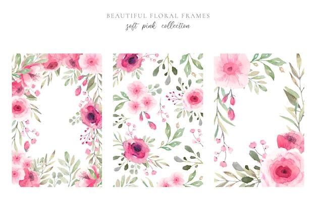 Hermoso marco floral en colores rosa suaves vector gratuito