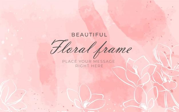 Hermoso marco floral con fondo de acuarela vector gratuito
