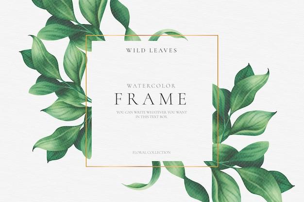 Hermoso marco floral con hojas elegantes vector gratuito