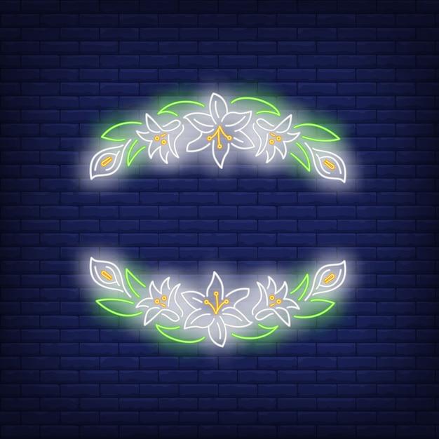 Hermoso marco floral letrero de neón vector gratuito