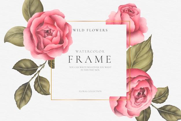 Hermoso marco floral con peonías y hojas vector gratuito