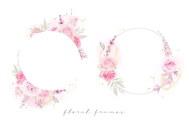 Hermoso marco floral con rosas acuarelas vector gratuito