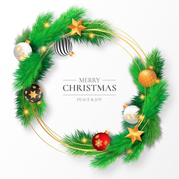 Hermoso marco navideño con ramas y adornos vector gratuito