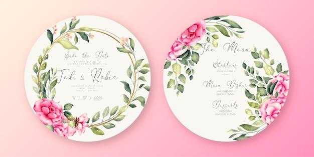 Hermoso menú de boda y plantilla de invitación vector gratuito