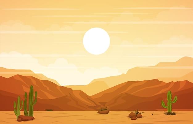 Hermoso paisaje del desierto occidental con sky rock cliff mountain ilustración Vector Premium