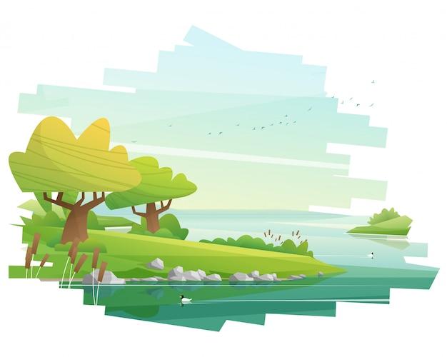 Hermoso paisaje ilustrado Vector Premium