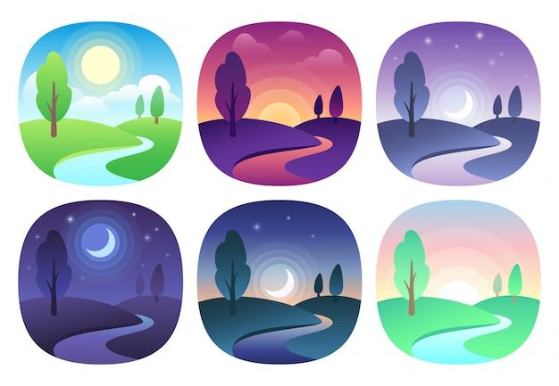 Hermoso paisaje moderno con gradientes. amanecer, amanecer, mañana, día, mediodía, atardecer, anochecer e icono de noche. conjunto de iconos de vector de tiempo de sol Vector Premium