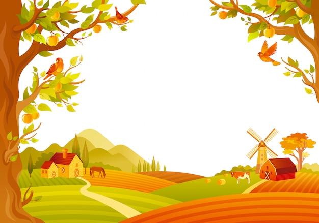 Hermoso paisaje de otoño. campo de otoño con granero, molino, manzanos. ilustración vectorial Vector Premium