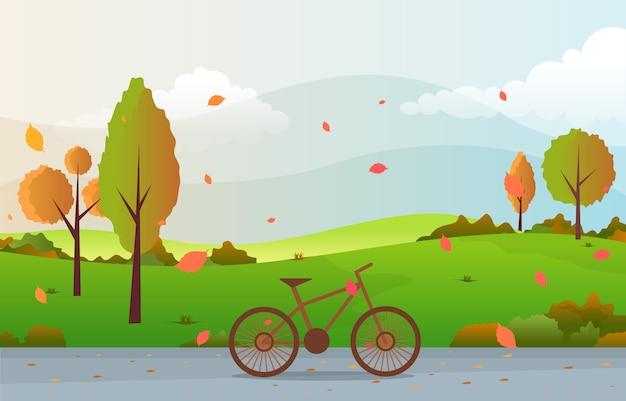 Hermoso parque jardín en otoño otoño con árbol cielo paisaje ilustración Vector Premium