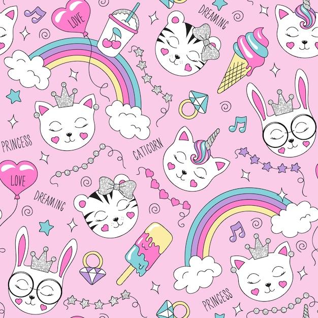 Hermoso patrón de animales lindos en rosa Vector Premium