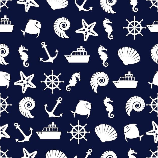Hermoso patrón marina Vector Premium
