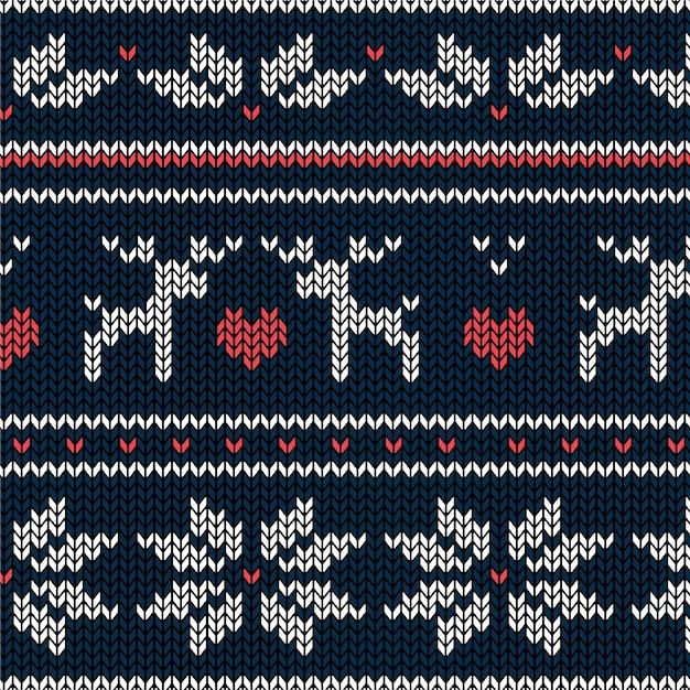Hermoso patrón de navidad de punto vector gratuito