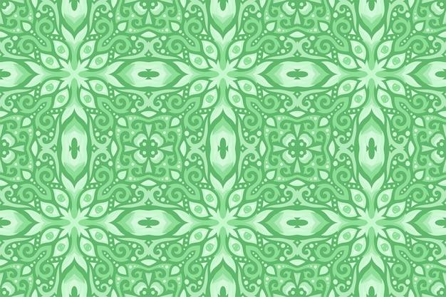 Hermoso patrón transparente vintage oriental verde con ojos Vector Premium