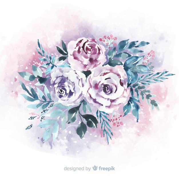 Hermoso ramo vintage de flores vector gratuito