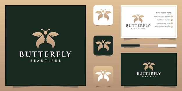 Hermoso rostro y concepto de logotipo de mariposa e inspiración para tarjetas de presentación Vector Premium
