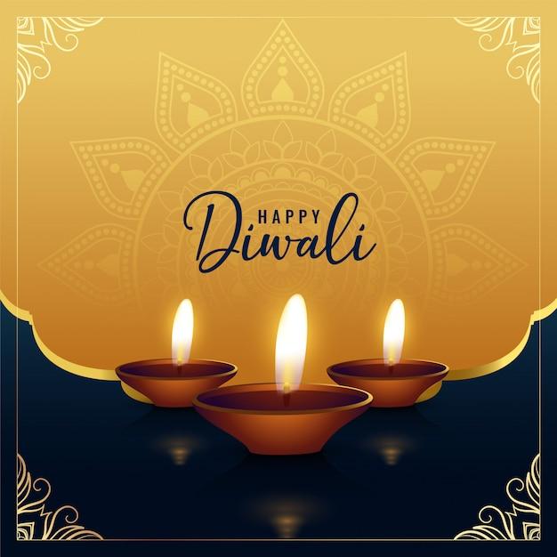 Hermoso saludo feliz diwali dorado vector gratuito