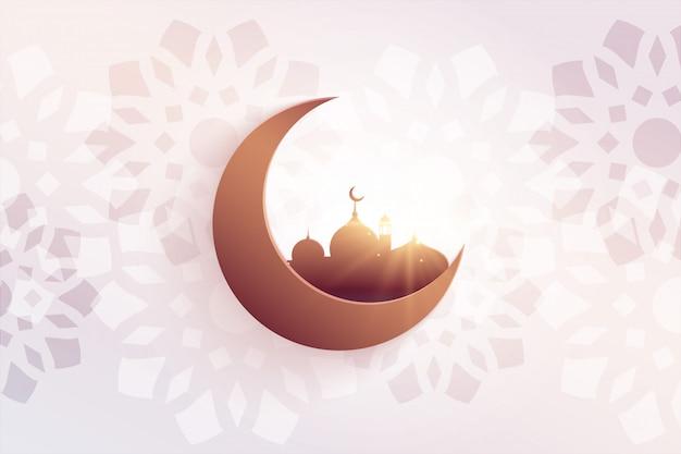 Hermoso saludo del festival eid con mezquita y luna. vector gratuito