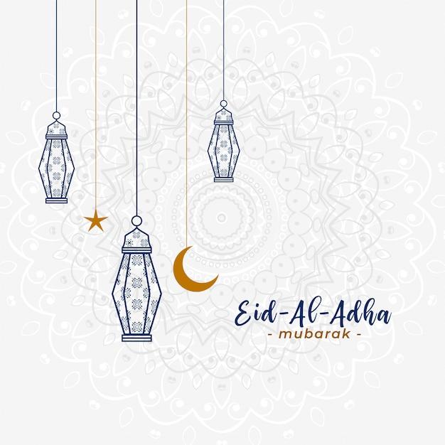 Hermoso saludo islámico eid al adha con lámparas colgantes vector gratuito