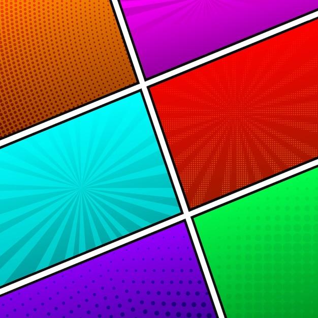 Hermoso seis páginas vacías de cómic colores de fondo Vector Premium