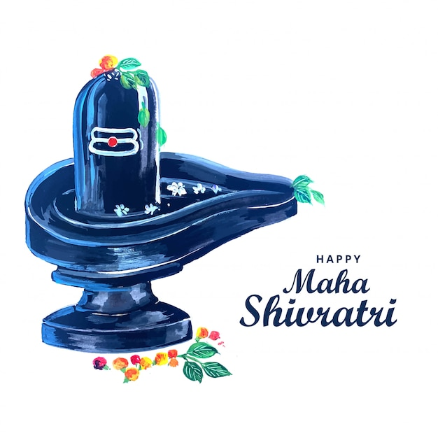 Hermoso señor realista shiva shivling para el festival maha shivratri vector gratuito