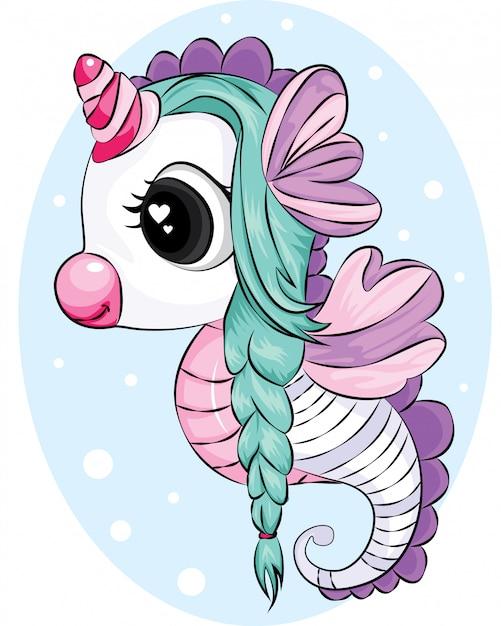 Hermoso unicornio caballito de mar con cabello verde Vector Premium