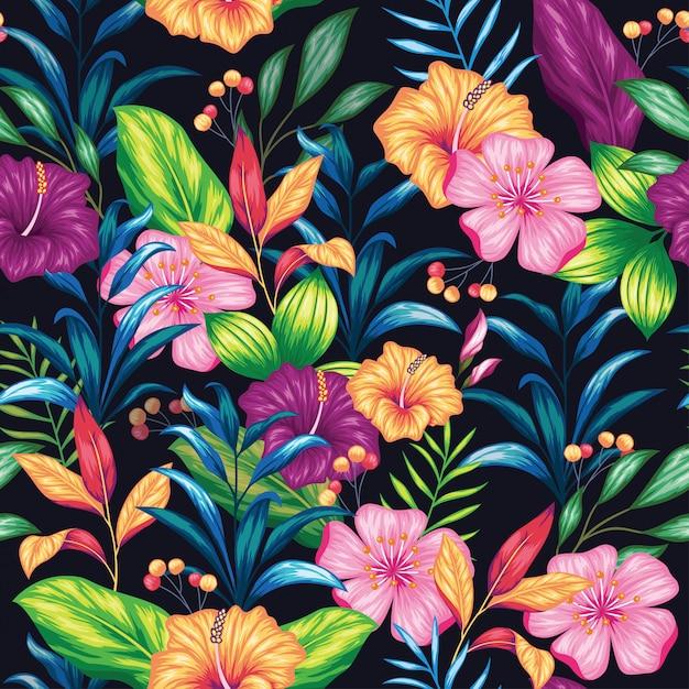 Hermoso vintage floral de patrones sin fisuras Vector Premium