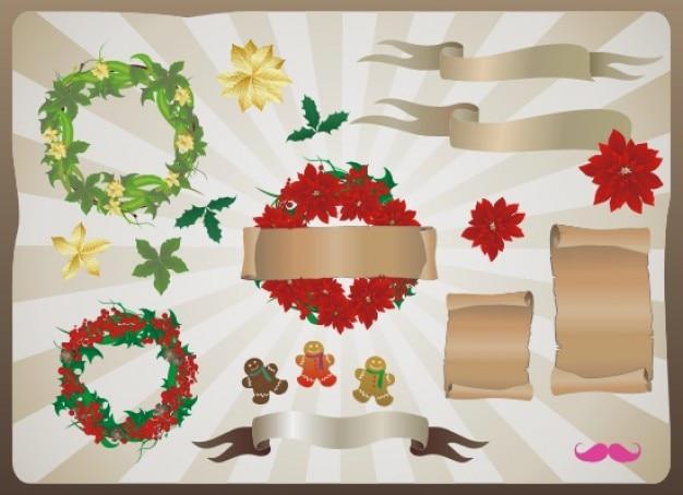 Hermosos adornos de navidad objetos vectoriales descargar vectores gratis - Objetos de navidad ...