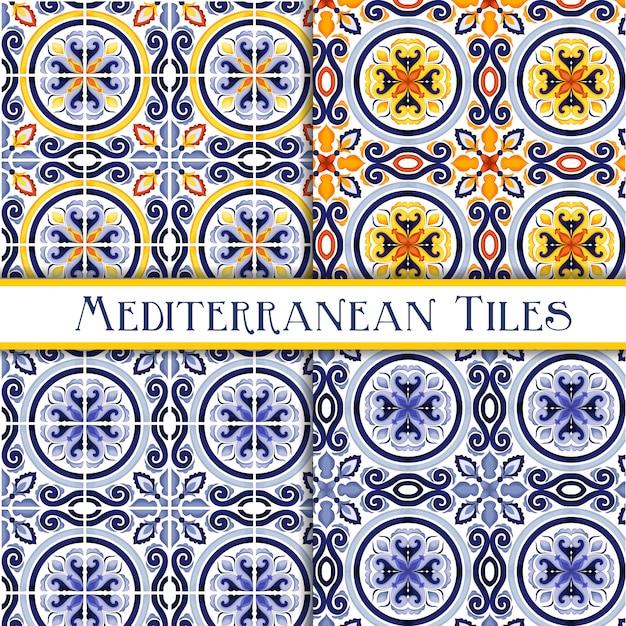 Hermosos azulejos tradicionales sicilianos pintados Vector Premium