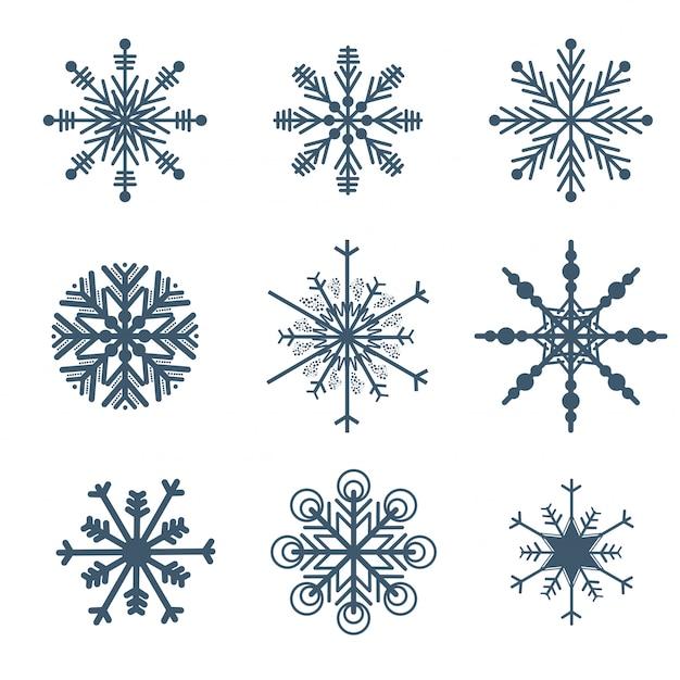 Hermosos copos de nieve establecen elementos vector gratuito