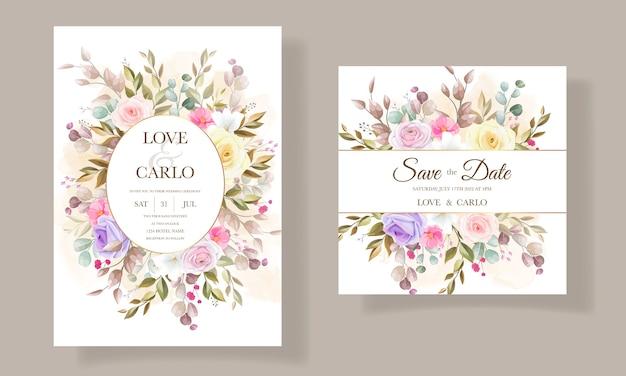 Hermosos diseños de plantillas de tarjetas de invitación de flores de rosas vector gratuito