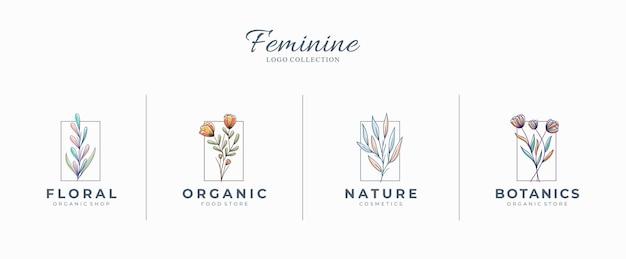 Hermosos logotipos botánicos femeninos con flores dibujadas a mano Vector Premium