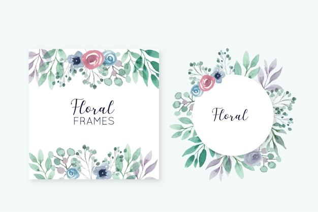 Hermosos marcos florales vector gratuito