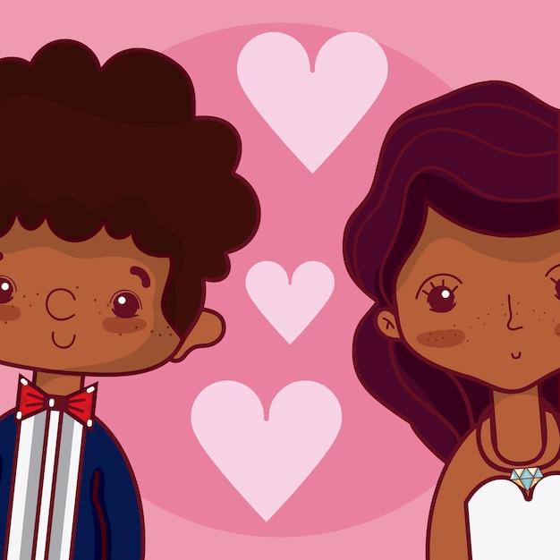 Hermosos novios enamorados con dibujos animados de