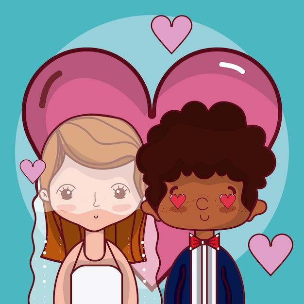Hermosos Novios Enamorados Con Dibujos Animados De Corazones