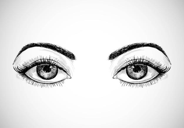 Hermosos ojos de boceto dibujados a mano vector gratuito