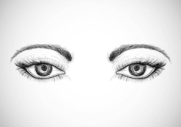 Hermosos ojos dibujados a mano vector gratuito